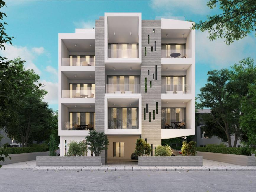 external view of white modern  apartment building complex