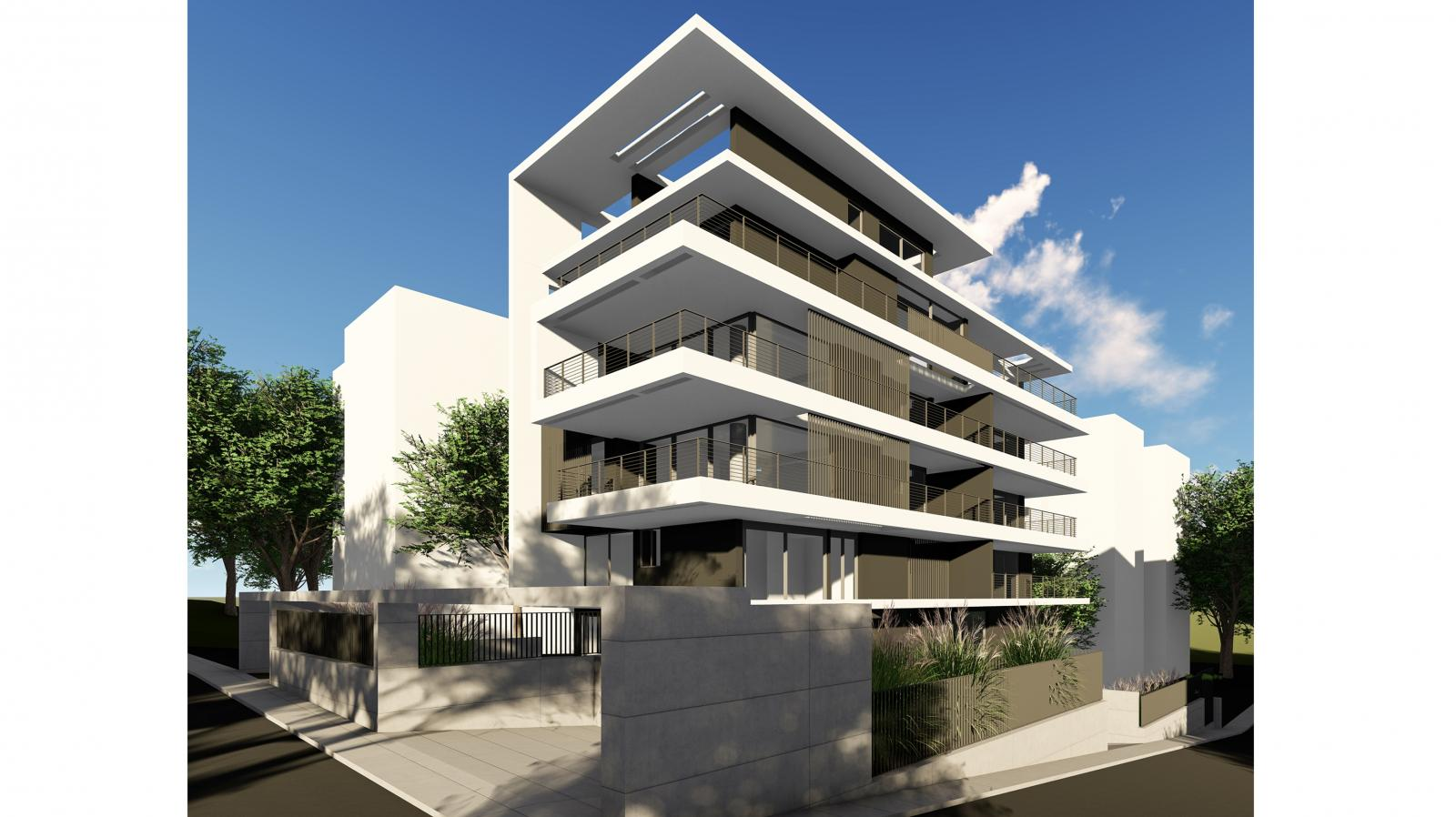 modern elegant apartment complex with road and greenary