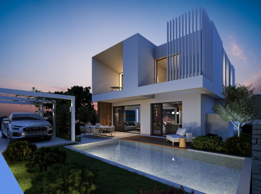 elegant modern villa unique design with swimming pool and parking slot by night in Limassol outskirts Cyprus