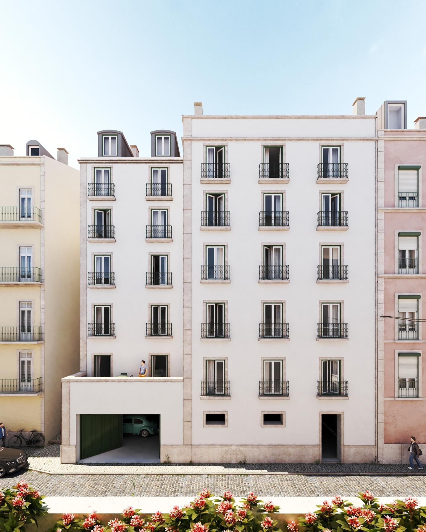 external view modern apartment complex