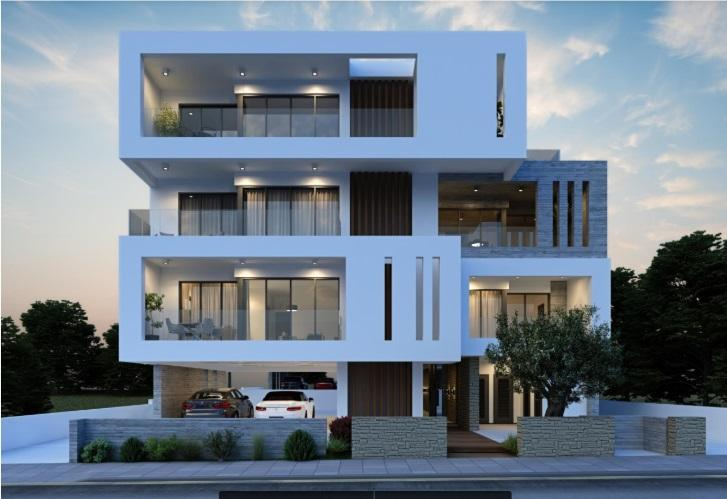 external view of modern villa with 4 floors and parking in the evening