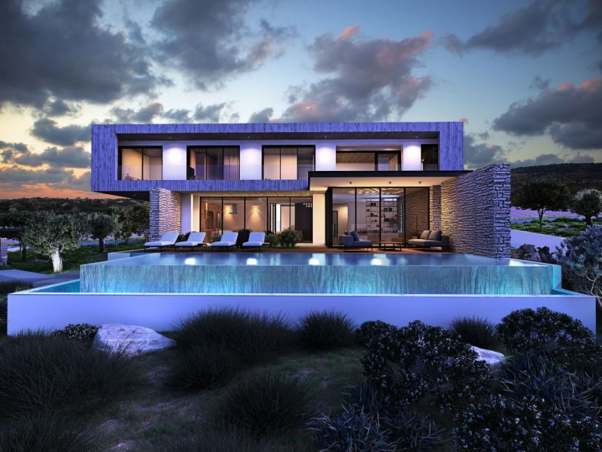 panoramic view of modern luxury villa with infinity pool vegetation deck and sunbeds by night