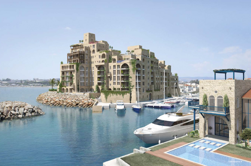 tower apartment island complex inside the Limassol Marina of Cyprus