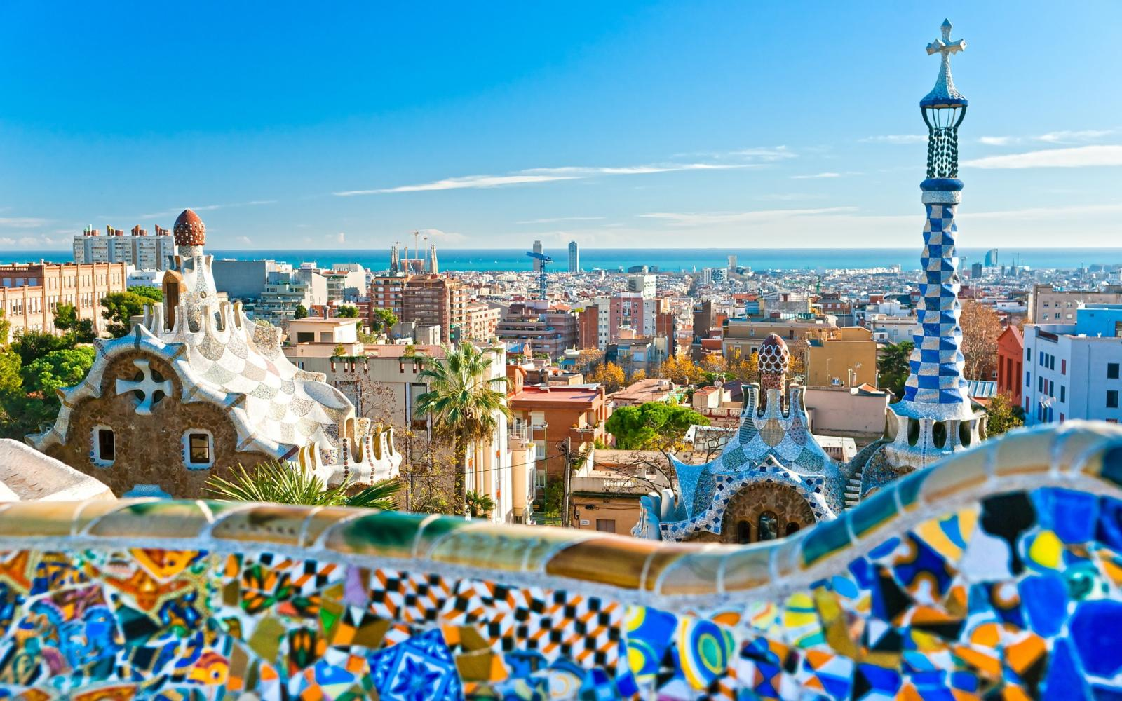 colorful buildings in Barcelona Spain with sky